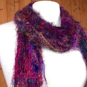 Accessories - Handmade Bright Purple Crochet Yarn Scarf 泥